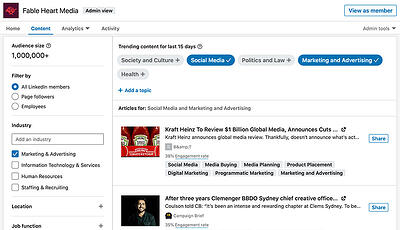 A screenshot of the Linkedin Content Suggestion Tool