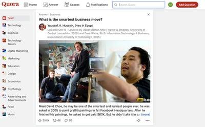 A screenshot of the Quora website